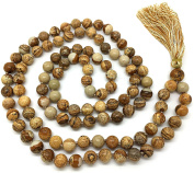 Picture Jasper Japa Mala 108 beads each 8 mm wide, with knots in between, plus 1 larger guru bead, 40 inches in length, with real gemstones, for use in Meditation or as a Necklace