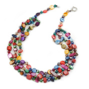 3 Strand Multicoloured Shell Nugget and Crystal Bead Necklace with Silver Tone Spring Ring Closure - 56cm L