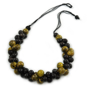 Black/ Olive Cluster Wood Bead Black Cotton Cord Necklace - 80cm L