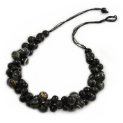 Black/ Gold Cluster Wood Bead Black Cotton Cord Necklace - 80cm L