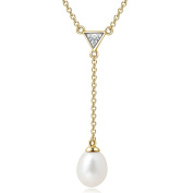 YAN & LEI Sterling Silver 8mm Shell Pearl Y-Shaped Necklace