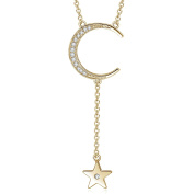 Yan & Lei Sterling Silver Crescent New Moon and Star Y-Shaped Necklace