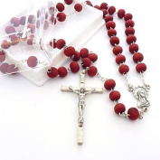 Rose scented red wood rosary beads necklace in gift box