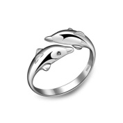 925 Sterling Silver Plated Genuine Double couple dolphins Women Open Band Ring,adjustable
