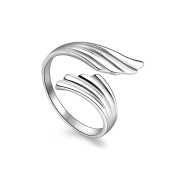 925 Sterling Silver Plated Vintage Smooth Double Angel Wings Women Open Band Ring,adjustable
