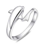 925 Sterling Silver Plated Vintage dolphin Women Open Band Ring,adjustable