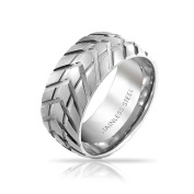 Bling Jewellery Mens Band Stainless Steel Tyre Tread Style Grooved Ring