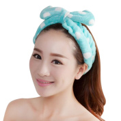 Nighteyes66 Women Girls Big Bow Soft Headband Make Up Bath Shower Spa Hair Band Headwear