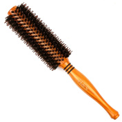 H & S Wooden Round Hair Brush Hairbrush Wood Natural Boar Bristle