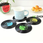 6pcs Retro Cd Record Vinyl Coffee Drink Cup Mat Coasters Chic Silicone Tableware