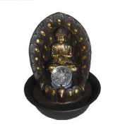 Cascading Buddha Indoor Table Top Water Feature + Spinning Ball & Led Lighting