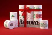 Renova White Print 2 Ply Christmas Xmas Toilet Tissue Paper Rolls