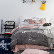ZLQZZPP Cotton Twill Positioning Four Sets Cotton Printing Double Bed Bedding Suite,4-230*250