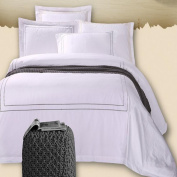 ZLQZZPP Five-star Hotel Simple White Four-piece Cotton Satin Embroidery Flower 1.5 / 1.8m Bedding,White-1.8m