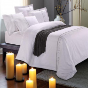 ZLQZZPP Star Hotel Cotton Embroidery Hotel Bedding Professional Embroidery Satin Hotel Linen Kit,White-1.5M