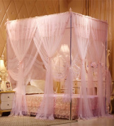 WUFENG Floor Style Princess Mosquito Net Square Top Three Doors Open Thick Stainless Steel Mosquito Net Bed Canopy Curtain