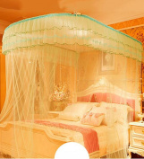 WUFENG U-type Princess Telescopic Mosquito Net Square Top Three Doors Thick Stainless Steel Mosquito Net Bed Canopy Curtain