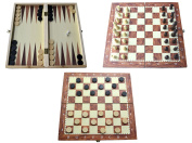 Shine 3 In 1 Natural Wooden Folding Chess/checkers