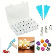 Joyoldelf Cake Piping Nozzles Kit - 24 Icing Tips With Plastic Coupler & 2 Bags,