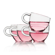 Tamume Glass Tea Cup Set Includes Four Tea Cups With Capacity 100ml Per Cup For