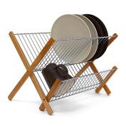 Relaxdays Cross Bamboo And Stainless Steel Chromed Draining Rack