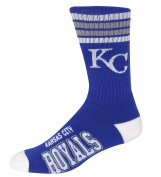MLB 4 Stripe Deuce Crew Socks Mens-Kansas City Royals-Size Large