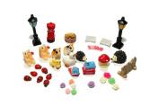 Mossfairy 48pcs Fairy Garden Dollhouse Miniature Ornament Diy Kit W/storage Case