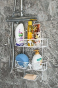 2 Tier White Hanging Shower Caddy With Soap Holder
