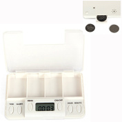 Cisixin Portable 4 Grid LCD Digital Pill organiser Tablets Case Box Reminder Container with 8 Sets of Alarm,White