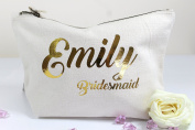 Personalised Bridesmaid Name Make Up Accessory Bag any Name Metallic Gold or Pink Print The perfect Gift for any occasion, Christmas, Birthdays Weddings