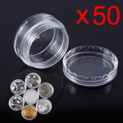 50-100 Small Clear Plastic Sample Container Mini Bottle Pot Jars Cosmetic Tools