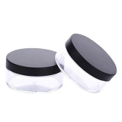 2 PCS 50g Portable Loose Powder Container Powder Case Makeup Cosmetic Jars with Sifter Lids