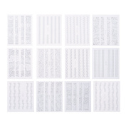 Demiawaking 30 Pcs White Lace Floral Nail Stickers Water Transfer Nail Art Stickers Sheets for Girls
