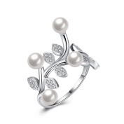 Hanie Leaf Pearl Engagement Ring adjustable Opening 925 Sterling Silver