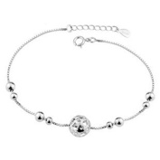 Anklet for Women Sterling Silver Charm Bead Foot Chain Bracelet, Adjustable Length