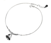 Anklet for Women Sterling Silver Charm Bead with Lucky Bell Foot Chain Bracelet, Adjustable Length