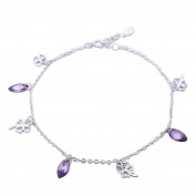 Anklet Bracelet Sterling Silver with Lucky Clover and Purple CZ Foot Chain Anklets Adjustable Length