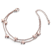 Sweetiee Titanium Steel Double Layered Anklet with Mini Stars Rose Gold 200mm for Woman