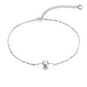 925 Sterling Silver 28cm V Chain Anklet /Ankle Bracelet / Ankle Chain includes Ball & Heart Charms In Pretty Gift Box- Adjustable