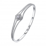 MARENJA Crystal - Elegant Bracelets for Women - White Gold Plated Square Crystal 19cm
