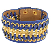Alfredo Pauly Couture Jewellery reminiscent of French Designer Ladies 'Bracelet Leather Gold-Plated Blue