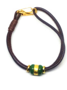 24K Pure Gold Green Jade Beads Sheepskin Rope Bracelet