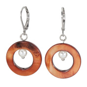 Lassiere Women's Earrings Rhodium Plated Mother of Pearl Brown Pearl White