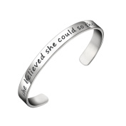 BESPMOSP She Believed She Could So She Did Hand Stamped Cuff Bracelet Inspirational Bangle Gifts