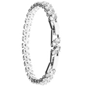 18K White Gold Plated Bracelet with Double Crystal Design with a Sturdy Elegant Clasp and High Quality Crystals All Around the Band by Matashi