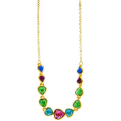 Champagne Gold Plated Jewellery with String of Hearts Design and High Quality Multicoloured Crystals by Matashi