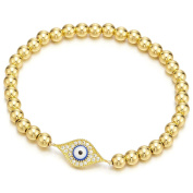Gold Beads Bracelet for Women Girls Men with Cubic Zirconia Protection Evil Eye
