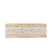 Mes-bijoux.fr - Woman's Bracelet Beige Alcantara decorated with Element Crystals - WRG203MXSgv