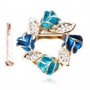 Merdia Women's Flower Scarf Clip Brooch Beautiful Scarf Buckle Ring with Created Crystal - Blue