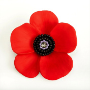 The 5 Petal Poppy Large Brooch, Enamel Rhodium Plated set with Crystal